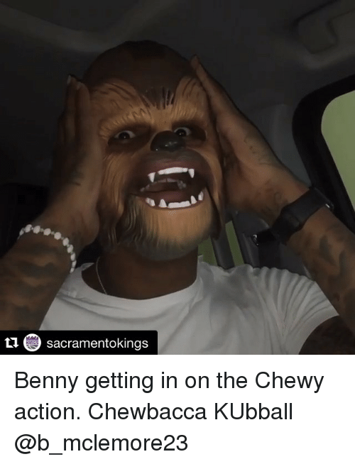 Kansas University Memes: sacramentokings Benny getting in on the Chewy action. Chewbacca KUbball @b_mclemore23