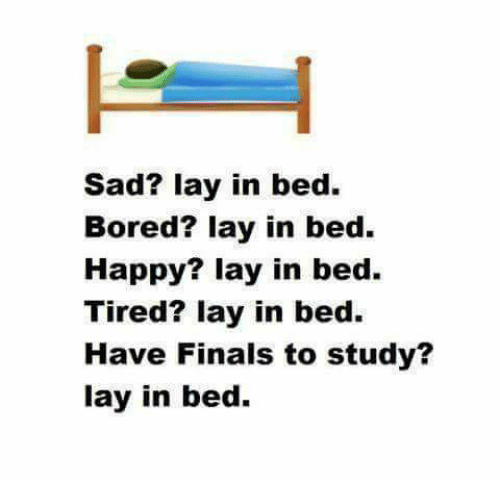 Bored, Finals, and Lay's: Sad? lay in bed.  Bored? lay in bed.  Happy? lay in bed.  Tired? lay in bed.  Have Finals to study?  lay in bed.