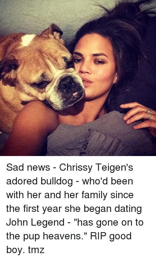 """Dating, Family, and John Legend: Sad news - Chrissy Teigen's adored bulldog - who'd been with her and her family since the first year she began dating John Legend - """"has gone on to the pup heavens."""" RIP good boy. tmz"""