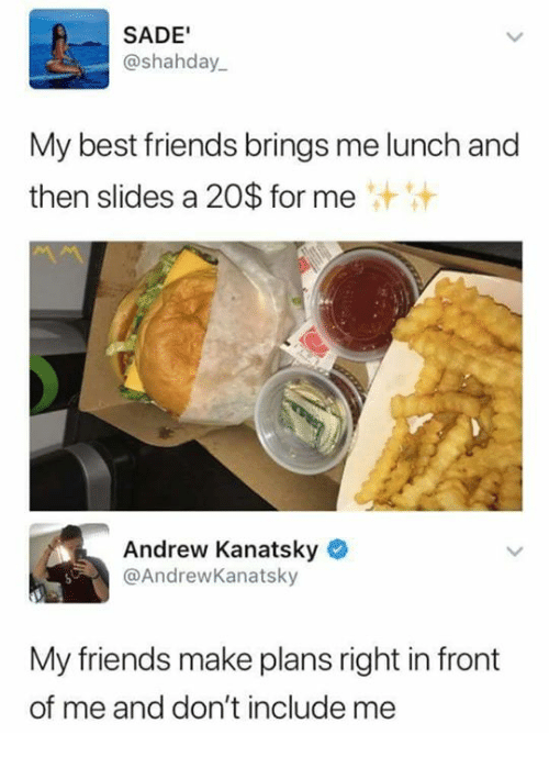 Friends, Funny, and Best: SADE'  @shahday  My best friends brings me lunch and  then slides a 20$ for me  汁汁  Andrew Kanatsky  @AndrewKanatsky  My friends make plans right in front  of me and don't include me