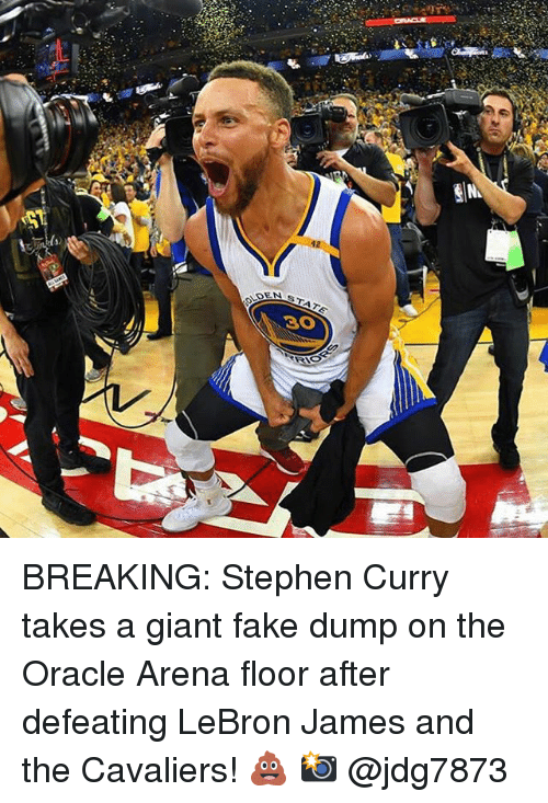 Basketball, Fake, and Golden State Warriors: SADENA BREAKING: Stephen Curry takes a giant fake dump on the Oracle Arena floor after defeating LeBron James and the Cavaliers! 💩 📸 @jdg7873