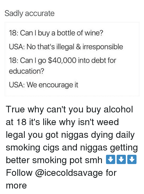 Dank, Smh, and Weed: Sadly accurate  18: Can I buy a bottle of wine?  USA: No that's illegal & irresponsible  18: Can I go $40,000 into debt for  education?  USA: We encourage it True why can't you buy alcohol at 18 it's like why isn't weed legal you got niggas dying daily smoking cigs and niggas getting better smoking pot smh ⬇️⬇️⬇️ Follow @icecoldsavage for more