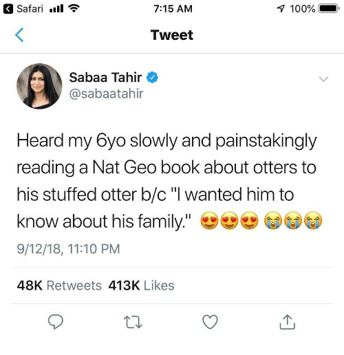 "Anaconda, Family, and Otters: Safari.  7:15 AM  100%  Tweet  Sabaa Tahir  @sabaatahir  Heard my 6yo slowly and painstakingly  reading a Nat Geo book about otters to  his stuffed otter b/c"" wanted him to  know about his family.""  9/12/18, 11:10 PM  48K Retweets 413K Likes"