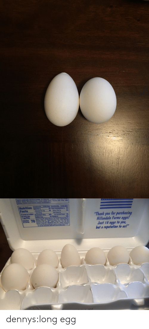 """egs: SAFE HANDLING  TO PREVENT ILLNESS FROM BACTERIA  NEEP EGGS REFRIGERATED, COOK EGGS UNTIL YOLKS ARE FIRM, AND  COOK FOODS CONTAINING EGGS THOROUGHLY  Nutrition  Facts  6%Total  Total Fat  sat  Cholosterol 1  0%  led Fet 1,51  ーー%ーDietary Fber 09  0%  Total Sugars  Thank you for purchasing  Hillandale Farms eggs!  Just 18 eggs to you,  but a reputation to us!""""  servings per lne  Serving size  1 egs (50gl  62%  ird. Og Added  3% Protein 6g  12%  Riboflavin 0.2mg15% . Vilanin012 a4mcg 15%. Biotin 10mcg 35%  Pantothecic Acid 1mg 20% ° Iodine 27mcg 20% . Zinc 1mg 10%  *Choline 147 25%  ,  per serviede  Selenium 15  25%. dennys:long egg"""