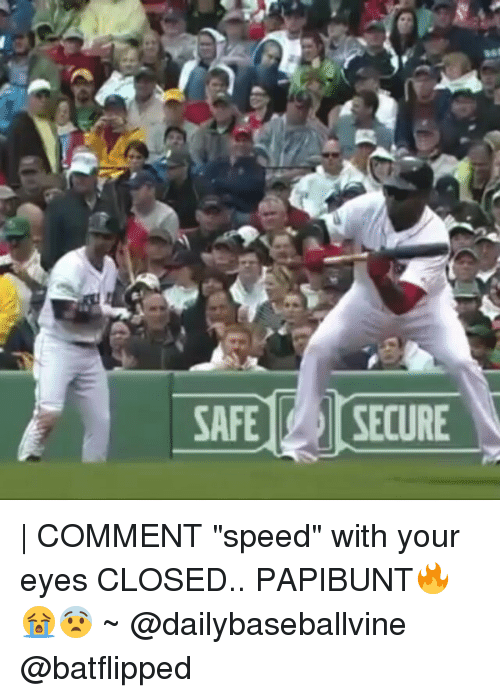 "securities: SAFE SECURE | COMMENT ""speed"" with your eyes CLOSED.. PAPIBUNT🔥😭😨 ~ @dailybaseballvine @batflipped"