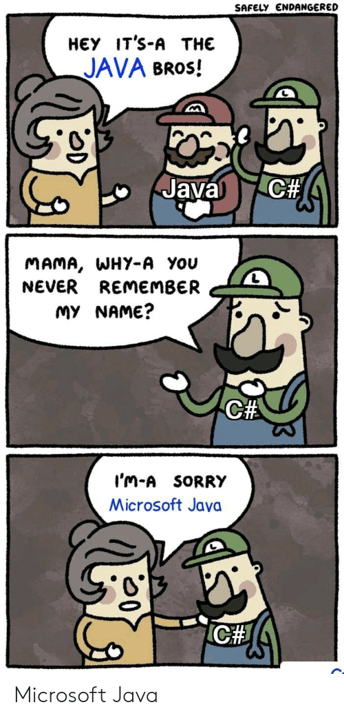 Safely Endangered: SAFELY ENDANGERED  НЕУ IT'S-A THE  JAVA BROS!  C#  Javal  MAMA, WHY-A You  NEVER REMEMBER  MY NAME?  C#  I'm-A SORRY  Microsoft Java  ICH Microsoft Java