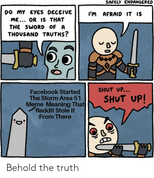 the sword: SAFELY ENDANGERED  Do MY EYES DECEIVE  I'm AFRAID IT IS  ME... OR IS THAT  THE SWORD OF A  THOUSAND TRUTHS?  SHUT UP...  Facebook Started  The Storm Area 51  Meme Meaning That  Reddit Stole It  From There  SHUT UP! Behold the truth