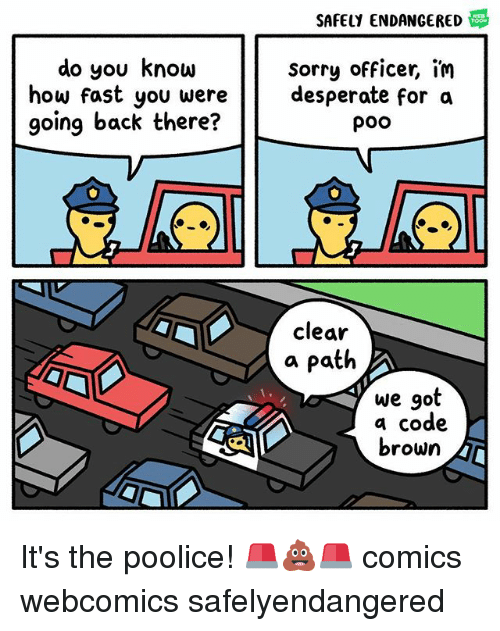 Desperate, Memes, and Sorry: SAFELY ENDANGERED  do you know  sorry officer, im  desperate for a  poo  going back there?  clear  a Patih  we got  a code  brown It's the poolice! 🚨💩🚨 comics webcomics safelyendangered