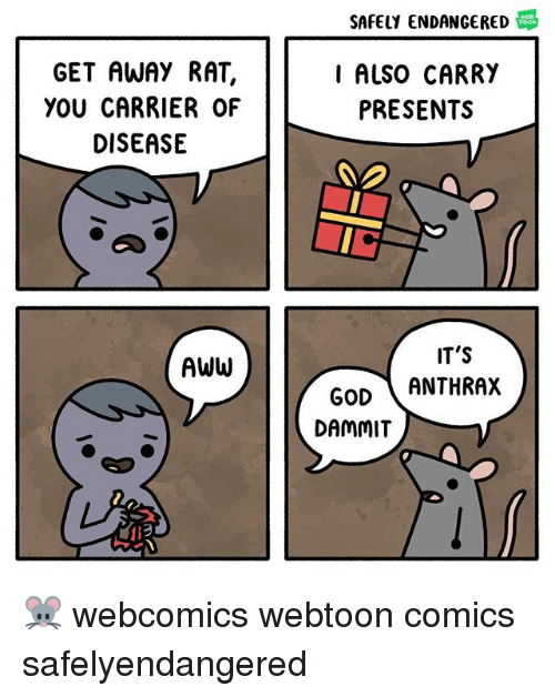 Aww, God, and Memes: SAFELY ENDANGERED  GET AWAY RAT,  YOU CARRIER OF  DISEASE  I ALSO CARRY  PRESENTS  IT'S  Aww  GOD ANTHRAX  DAMMIT  13 🐭 webcomics webtoon comics safelyendangered