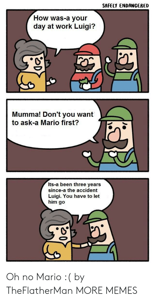 luigi: SAFELY ENDANGERED  How was-a your  day at work Luigi?  Mumma! Don't you want  to ask-a Mario first?  Its-a been three years  since-a the accident  Luigi. You have to let  him go Oh no Mario :( by TheFlatherMan MORE MEMES