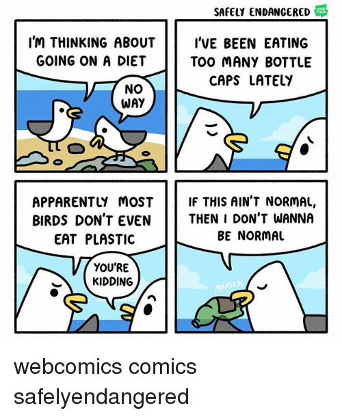 Apparently, Memes, and Birds: SAFELY ENDANGERED  I'M THINKING ABOUTI'VE BEEN EATING  TOO MANY BOTTLE  GOING ON A DIET  CAPS LATELY  NO  WAY  APPARENTLY MOST IF THIS AIN'T NORMAL,  BIRDS DON'T EVENTHEN I DON'T WANNA  EAT PLASTIC  BE NORMAL  YOU'RE  KIDDING webcomics comics safelyendangered