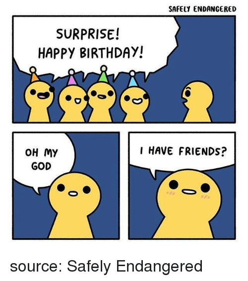 Birthday, Friends, and God: SAFELY ENDANGERED  SURPRISE!  HAPPY BIRTHDAY!  I HAVE FRIENDS?  OH MY  GOD source: Safely Endangered