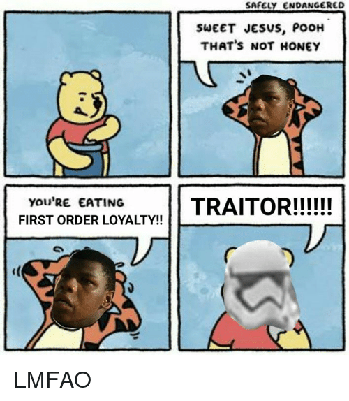 Dank Memes: SAFELY ENDANGERED  SWEET JESUS, POOH  THAT'S NOT HONEY  FIRST ORDER LOYALTY!!  TRAITOR!!!!!!  you'RE EATING LMFAO