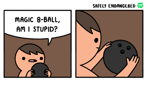 stupider: SAFELY ENDANGERED  WEB  TOON  MAGIC 8-BALL,  Am I STUPID?