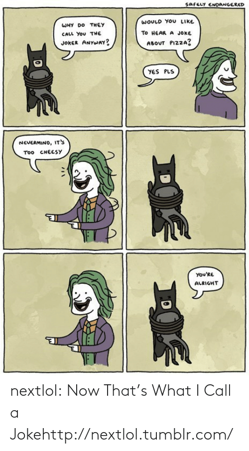 pizza: SAFELY ENDANGERED  WOULD YOU LIKE  WHY DO THEY  TO HEAR A JOKE  CALL You THE  JOKER ANYWAY?  ABOUT PIZZA?  YES PLS  NEVERMINO, IT'S  Too CHEESY  You'RE  ALRIGHT nextlol:  Now That's What I Call a Jokehttp://nextlol.tumblr.com/