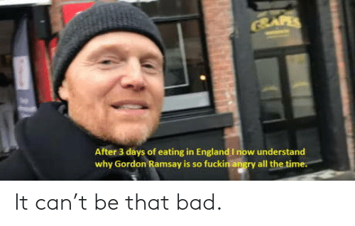 Gordon Ramsay: SAFES  After 3 days of eating in England I now understand  why Gordon Ramsay is so fuckin angry all the time. It can't be that bad.