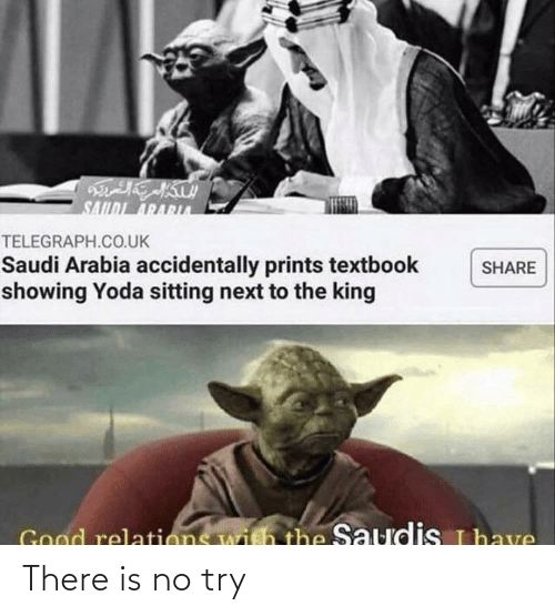 there is no try: SAILDI ARARA  TELEGRAPH.CO.UK  Saudi Arabia accidentally prints textbook  showing Yoda sitting next to the king  SHARE  Good relations with the Saudis uhave There is no try