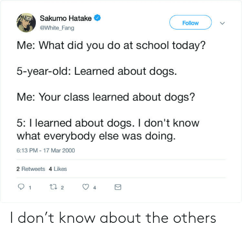 What Did You: Sakumo Hatake  Follow  @White_Fang  Me: What did you do at school today?  5-year-old: Learned about dogs.  Me: Your class learned about dogs?  5: I learned about dogs. I don't know  what everybody else was doing  6:13 PM - 17 Mar 2000  2 Retweets 4 Likes  t2  1  4 I don't know about the others