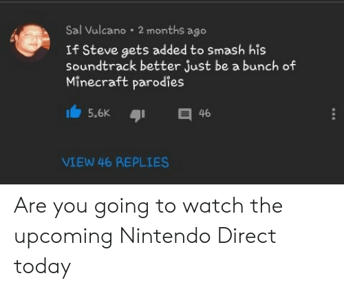 Sal Vulcano: Sal Vulcano 2 months ago  If Steve gets added to Smash his  Soundtrack better just be a bunch of  Minecraft parodies  E 46  5.6K  VIEW 46 REPLIES Are you going to watch the upcoming Nintendo Direct today
