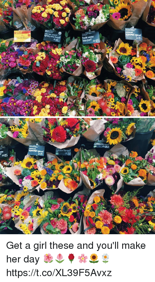 Girl, Girl Memes, and Her: SALE  tnple wren  Cheerful Bouquet  12. Get a girl these and you'll make her day 🌺🌷🌹🌸🌻🌼 https://t.co/XL39F5Avxz