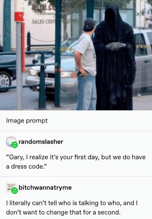 "sales: SALES CEN  Magooal  Image prompt  randomslasher  ""Gary, I realize it's your first day, but we do have  a dress code.""  ENAY NOT BE  bitchwannatryme  РЕRFECT  NOT  I literally can't tell who is talking to who, and I  don't want to change that for a second."