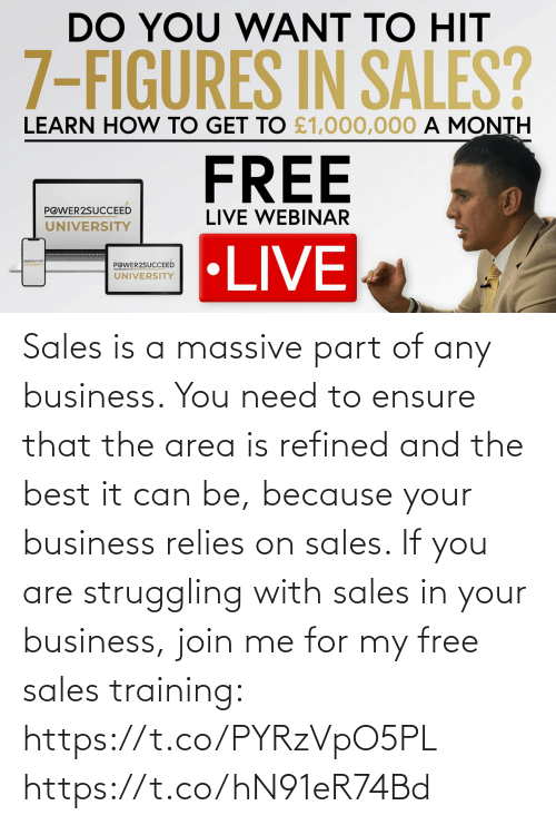 Area: Sales is a massive part of any business. You need to ensure that the area is refined and the best it can be, because your business relies on sales.   If you are struggling with sales in your business, join me for my free sales training: https://t.co/PYRzVpO5PL https://t.co/hN91eR74Bd