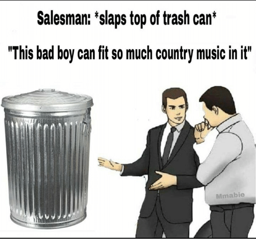 "Bad, Music, and Trash: Salesman: 'slaps top of trash can*  ""This bad boy can fit so much country music in it""  Mmabie"
