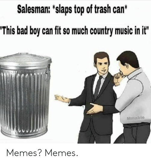 trash can: Salesman: 'slaps top of trash can*  'This bad boy can fit so much country music in it  Mmable Memes? Memes.