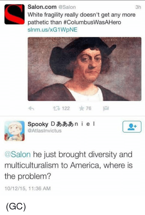 America, Memes, and Salon: Salon.com @Salon  White fragility really doesn't get any more  pathetic than #ColumbusWasAHero  slnm.us/xG1WpNE  3h  SpookyDi e I  @Atlasinvictus  @Salon he just brought diversity and  multiculturalism to America, where is  the problem?  10/12/15, 11:36 AM (GC)