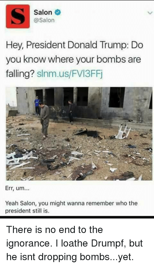 Memes, Salon, and 🤖: Salon  @Salon  Hey, President Donald Trump: Do  you know where your bombs are  falling?  slnm.us/FVI3FFj  Err, um...  Yeah Salon, you might wanna remember who the  president still is. There is no end to the ignorance. I loathe Drumpf, but he isnt dropping bombs...yet.
