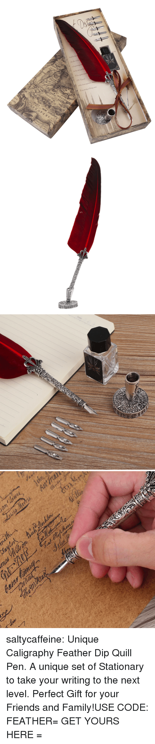 Quill: saltycaffeine:  Unique Caligraphy Feather Dip Quill Pen. A unique set of Stationary to take your writing to the next level. Perfect Gift for your Friends and Family!USE CODE: FEATHER= GET YOURS HERE =