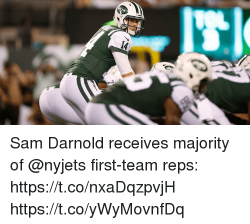 Memes, 🤖, and Team: Sam Darnold receives majority of @nyjets first-team reps: https://t.co/nxaDqzpvjH https://t.co/yWyMovnfDq
