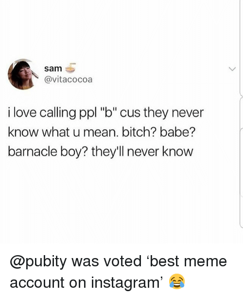 """Bitch, Instagram, and Love: sam  @vitacocoa  i love calling ppl """"b"""" cus they never  know what u mean. bitch? babe?  barnacle boy? they'll never know @pubity was voted 'best meme account on instagram' 😂"""
