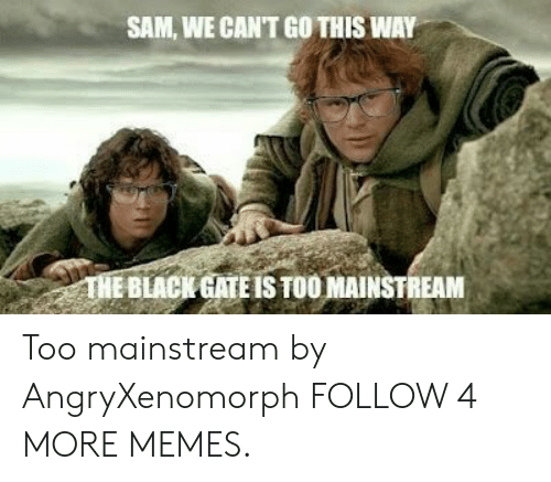 Too Mainstream: SAM, WE CAN'T GO THIS WAY  THE BLACK GATE IS TOO MAINSTREAM Too mainstream by AngryXenomorph FOLLOW 4 MORE MEMES.