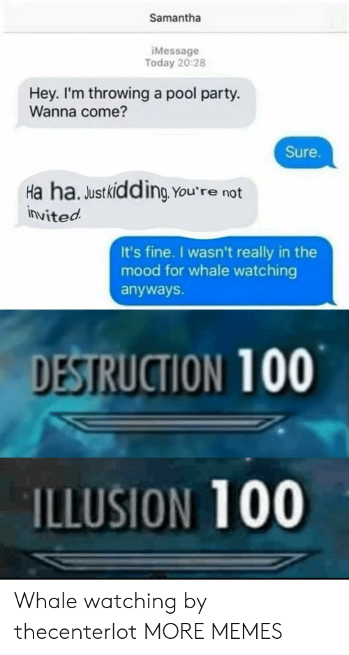destruction: Samantha  IMessage  Today 20:28  Hey. I'm throwing a pool party.  Wanna come?  Sure.  Ha ha. Justkidding You're not  invited  It's fine. I wasn't really in the  mood for whale watching  anyways.  DESTRUCTION 100  ILLUSION 100 Whale watching by thecenterlot MORE MEMES