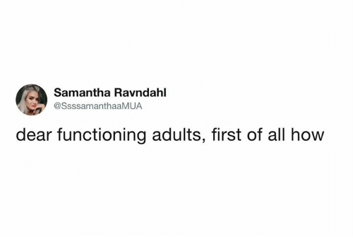 Dank, 🤖, and How: Samantha Ravndahl  SsssamanthaaMUA  dear functioning adults, first of all how