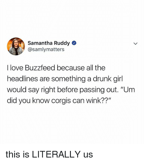 "Drunk, Love, and Buzzfeed: Samantha Ruddy  @samlymatters  I love Buzzfeed because all the  headlines are something a drunk girl  would say right before passing out. ""Um  did you know corgis can wink??"" this is LITERALLY us"