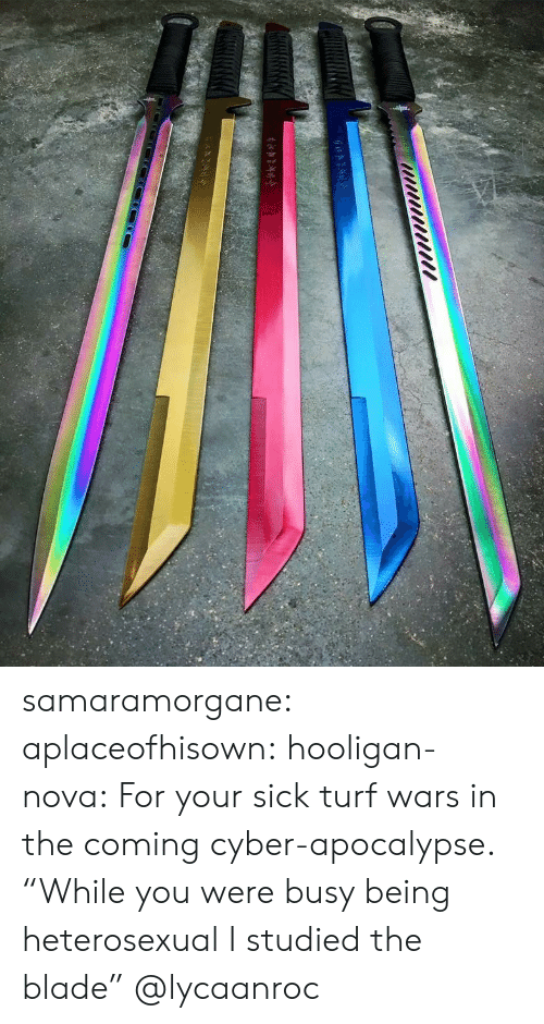 """turf: samaramorgane: aplaceofhisown:  hooligan-nova: For your sick turf wars in the coming cyber-apocalypse.  """"While you were busy being heterosexual I studied the blade""""  @lycaanroc"""