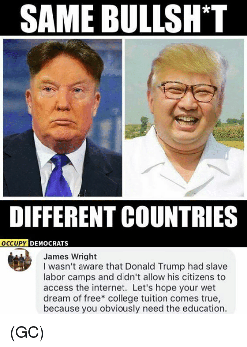 College, Donald Trump, and Internet: SAME BULLSH*T  DIFFERENT COUNTRIES  OCCUPY  PY DEMOCRATS  James Wright  I wasn't aware that Donald Trump had slave  labor camps and didn't allow his citizens to  access the internet. Let's hope your wet  dream of free* college tuition comes true,  because you obviously need the education. (GC)
