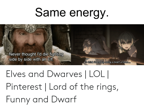 lord of the rings funny: Same energy.  Never thought I'd die fighting  side by side with an Elf.  To think Id end up owing a dwarf a favor... Elves and Dwarves | LOL | Pinterest | Lord of the rings, Funny and Dwarf
