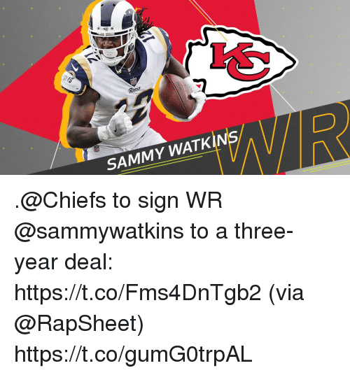 Memes, Chiefs, and 🤖: SAMMY WATKIN .@Chiefs to sign WR @sammywatkins to a three-year deal: https://t.co/Fms4DnTgb2 (via @RapSheet) https://t.co/gumG0trpAL