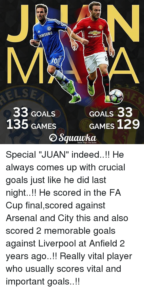 """Memorals: SAMSUNG  33 GOALS  135 GAMES  CHEVROLET  GOALS  33  GAMES  129  More Than The Score Special """"JUAN"""" indeed..!! He always comes up with crucial goals just like he did last night..!! He scored in the FA Cup final,scored against Arsenal and City this and also scored 2 memorable goals against Liverpool at Anfield 2 years ago..!! Really vital player who usually scores vital and important goals..!!"""
