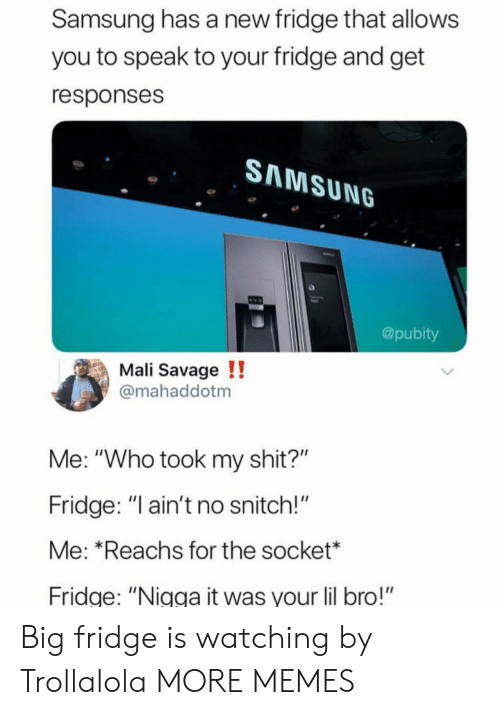 """socket: Samsung has a new fridge that allows  you to speak to your fridge and get  responses  SAMSUNG  @pubity  Mali Savage !!  mahaddotm  Me: """"Who took my shit?""""  Fridge: """" ain't no snitch!""""  Me: *Reachs for the socket*  ridge: """"Nigga it was your lil bro!"""" Big fridge is watching by Trollalola MORE MEMES"""