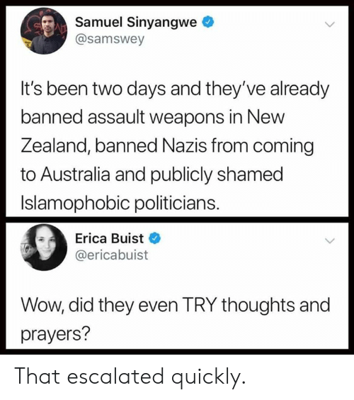 That Escalated: Samuel Sinyangwe  @samswey  It's been two days and they've already  banned assault weapons in New  Zea  land, banned Nazis from coming  to Australia and publicly shamed  Islamophobic politicians.  Erica Buist  @ericabuist  Wow, did they even TRY thoughts and  prayers? That escalated quickly.