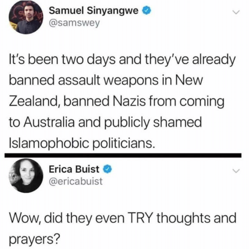 Erica: Samuel Sinyangwe  @samswey  It's been two days and they've already  banned assault weapons in New  Zealand, banned Nazis from coming  to Australia and publicly shamed  Islamophobic politicians.  Erica Buist  @ericabuist  Wow, did they even TRY thoughts and  prayers?