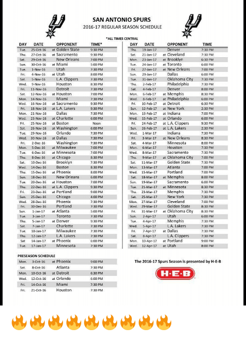 This is an image of Genius Spurs Schedule Printable