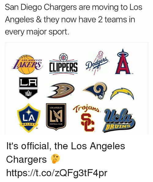 san diego chargers: San Diego Chargers are moving to Los  Angeles & they now have 2 teams in  every major sport  LOS ANGELES  LA  LOS ANGELES  LA  BRUINS  GALAXY  FOOTBALL CLUB It's official, the Los Angeles Chargers 🤔 https://t.co/zQFg3tF4pr