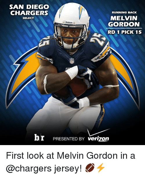 san diego chargers: SAN DIEGO  CHARGERS  RUNNING BACK  MELVIN  SELECT  Riddel  GORDON  RD 1 PICK 15  br PRESENTED BY verizon First look at Melvin Gordon in a @chargers jersey! 🏈⚡️