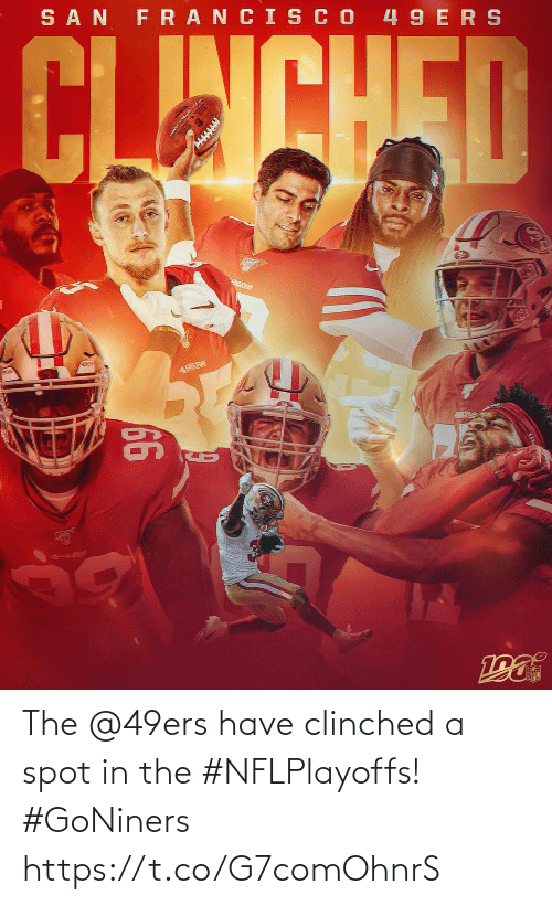 san: SAN FRANCIS CO 49 ERS  CLINCHED  49ERS  66  49s Re The @49ers have clinched a spot in the #NFLPlayoffs! #GoNiners https://t.co/G7comOhnrS