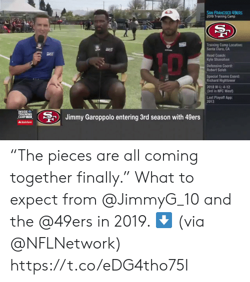 "camp: SAN FRANCISCO 49ERS  2019 Training Camp  Training Camp Location:  Santa Clara, CA  Head Coach:  Kyle Shanahan  Defensive Coord  Robert Saleh  Special Teams Coord:  Richard Hightower  2018 W-L: 4-12  (3rd in NFC West)  Last Playoff App:  2013  INSIDE  TRAINING  CAMP EIVE  BJimmy Garoppolo entering 3rd season with 49ers  AState Farm ""The pieces are all coming together finally.""  What to expect from @JimmyG_10 and the @49ers in 2019. ⬇️  (via @NFLNetwork) https://t.co/eDG4tho75I"